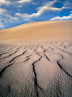 Wind ripples in sand dunes. Death Valley National Park, California. Sky was added
