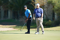 George Coetzee (RSA) and Shubhankar Sharma (IND) on the 8th green  during Round 1 of the Portugal Masters, Dom Pedro Victoria Golf Course, Vilamoura, Vilamoura, Portugal, 24/10/2019<br /> Picture Andy Crook / Golffile.ie<br /> <br /> All photo usage must carry mandatory copyright credit (© Golffile | Andy Crook)
