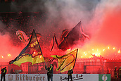 February 5th 2019, Dortmund, Germany, German DFB Cup round of 16, Borussia Dortmund versus SV Werder Bremen;  Bremen fans light pyrotechnics