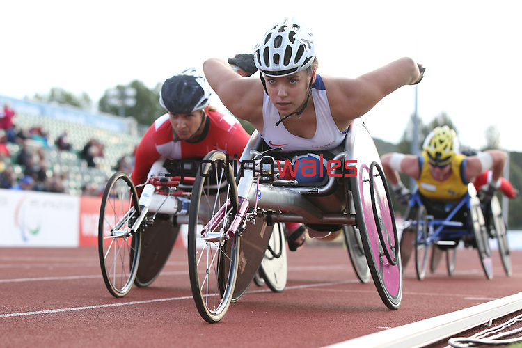 IPC European Athletics Championship 2014<br /> Jade Jones GBR<br /> Women's 5000m T54<br /> Swansea University<br /> 20.08.14<br /> &copy;Steve Pope-SPORTINGWALES