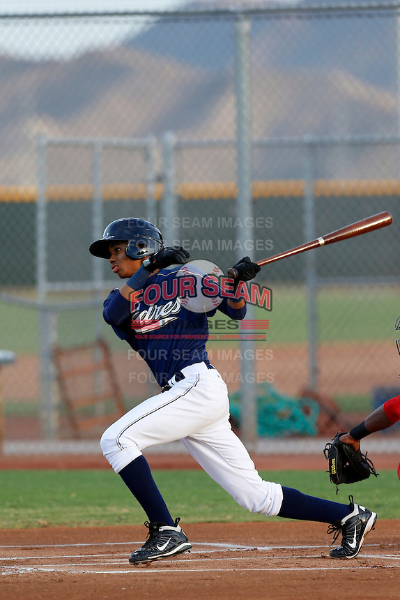 Rod Boykin #25 of the AZL Padres bats against the AZL Reds at the Cincinnati Reds Spring Training Complex on July 13, 2013 in Goodyear, Arizona. AZL Reds defeated the AZL Padres, 11-10. (Larry Goren/Four Seam Images)