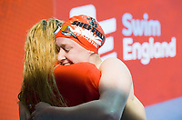 Picture by Allan McKenzie/SWpix.com - 13/12/2017 - Swimming - Swim England Winter Championships - Ponds Forge International Sport Centre - Sheffield, England - Rosie Rudin hugs Eleanor Faulkner after racing to silver in the womens open 400m individual medley, Swim England, branding.