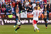 Brian Carroll (7) of the Philadelphia Union. The New York Red Bulls defeated the Philadelphia Union 2-1 during a Major League Soccer (MLS) match at Red Bull Arena in Harrison, NJ, on March 30, 2013.