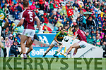 Stephen O'Brien Kerry in action against Michael Daly Galway in the All Ireland Senior Football Quarter Final at Croke Park on Sunday.