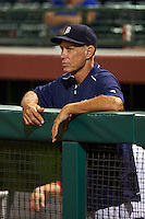 Scottsdale Scorpions coach Alan Trammell in the dugout during an Arizona Fall League game against the Salt River Rafters on October 14, 2015 at Scottsdale Stadium in Scottsdale, Arizona.  Scottsdale defeated Salt River 13-3.  (Mike Janes/Four Seam Images)