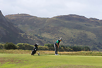 Conor Purcell from Ireland on the 4th green during Round 2 Singles of the Men's Home Internationals 2018 at Conwy Golf Club, Conwy, Wales on Thursday 13th September 2018.<br /> Picture: Thos Caffrey / Golffile<br /> <br /> All photo usage must carry mandatory copyright credit (&copy; Golffile   Thos Caffrey)