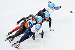 Jack Whelbourne of Great Britain being followed during the Short Track Speed Skating as part of the 2014 Sochi Olympic Winter Games at Iceberg Skating Palace on February 10, 2014 in Sochi, Russia. Photo by Victor Fraile / Power Sport Images