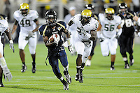 20 September 2008:  FIU wide receiver TY Hilton (4) takes a Wayne Younger pass 61 yards to set up an FIU touchdown during the USF 17-9 victory over FIU at FIU Stadium in Miami, Florida.