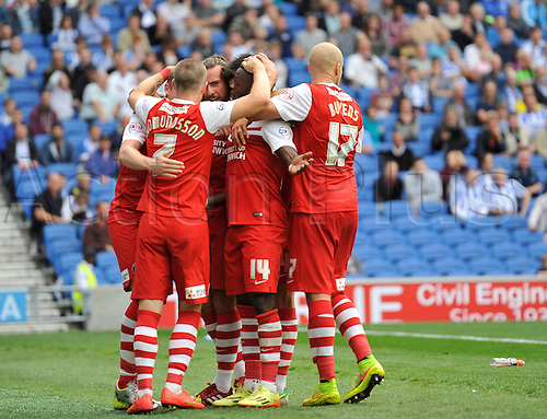 30.08.2014.  Brighton, England. Sky Bet Championship. Brighton and Hove Albion versus Charlton Athletic. Charlton celebrate their goal from Vetokele in the 75th minute