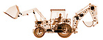 X-ray image of a loader with backhoe (orange on white) by Jim Wehtje, specialist in x-ray art and design images.