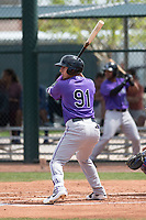 Colorado Rockies shortstop Daniel Castro (91) during a Minor League Spring Training game against the Chicago Cubs at Sloan Park on March 27, 2018 in Mesa, Arizona. (Zachary Lucy/Four Seam Images)