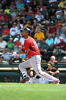 Minnesota Twins outfielder Eddie Rosario (60) hits a home run during a Spring Training game against the Pittsburgh Pirates on March 13, 2015 at McKechnie Field in Bradenton, Florida.  Minnesota defeated Pittsburgh 8-3.  (Mike Janes/Four Seam Images)