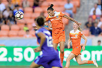 Houston, TX - Saturday June 17, 2017: Poliana heads the ball towards the Orlando goal during a regular season National Women's Soccer League (NWSL) match between the Houston Dash and the Orlando Pride at BBVA Compass Stadium.