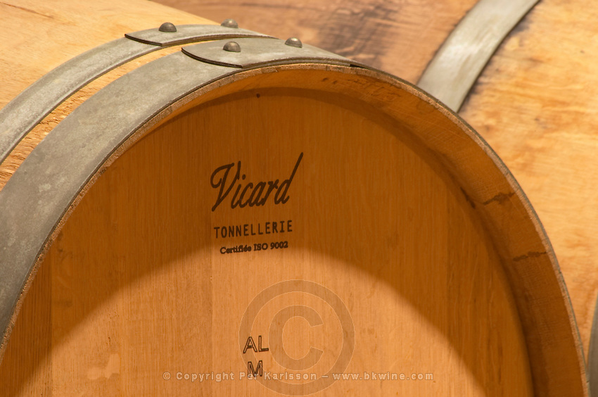 A now oak barrel stamped with the name of the cooper Vicard Tonnellerie and AL meaning the forest Allier from where the oak comes and M that means medium toasting (chauffe)  Chateau Bouscaut Cru Classe Cadaujac  Graves Pessac Leognan  Bordeaux Gironde Aquitaine France