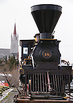 Crews move the Dayton No. 18 locomotive and tender from the Comstock History Center in Virginia City, Nev., on Monday, April 16, 2018. <br /> Photo by Cathleen Allison/Nevada Momentum