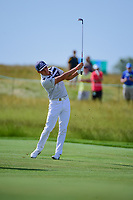 Rickie Fowler (USA) hits his approach shot on 7 during the Wednesday practice day of the 117th U.S. Open, at Erin Hills, Erin, Wisconsin. 6/14/2017.<br /> Picture: Golffile | Ken Murray<br /> <br /> <br /> All photo usage must carry mandatory copyright credit (&copy; Golffile | Ken Murray)