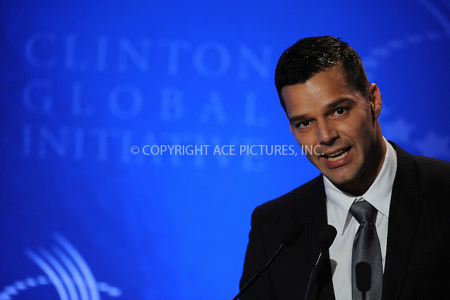 WWW.ACEPIXS.COM . . . . . ....September 24 2009, New York City....Singer Ricky Martin at the Clinton Global Initiative on September 24 2009 in New York City....Please byline: KRISTIN CALLAHAN - ACEPIXS.COM.. . . . . . ..Ace Pictures, Inc:  ..tel: (212) 243 8787 or (646) 769 0430..e-mail: info@acepixs.com..web: http://www.acepixs.com