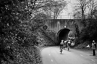 big peloton sneaking into a tiny hole<br /> <br /> 52nd Amstel Gold Race (1.UWT)<br /> 1 Day Race: Maastricht &rsaquo; Berg en Terblijt (264km)