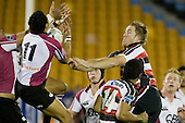 James Maher competes for the ball with Rudi Wulf. Air New Zealand Cup rugby game between Counties Manukau Steelers & North Harbour, played at Mt Smart Stadium on August 10th, 2007. The game ended in a 13 all draw.