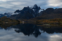 Mountain reflection in Raftsundet straight, Lofoten Islands, Norway