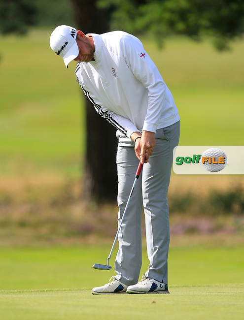 Jack Gaunt (England) on the 3rd green during Day 3 Singles of the Home Internationals at Moortown Golf Club, Leeds, England. 18/08/2017<br /> Picture: Golffile | Thos Caffrey<br /> <br /> All photo usage must carry mandatory copyright credit     (&copy; Golffile | Thos Caffrey)