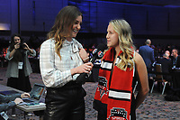BALTIMORE, MD - JANUARY 16: Jordan Angeli and Ashley Sanchez during the 2020 NWSL College Draft at the Baltimore Convention Center on January 16, 2020 in Baltimore, Maryland.