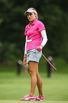 Lexi Thompson watches her putt on the 2nd green at the LPGA Championship 2014 Sponsored By Wegmans at Monroe Golf Club in Pittsford, New York on August 16, 2014