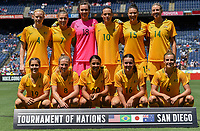 San Diego, CA - Sunday July 30, 2017: Starting eleven for Australia during a 2017 Tournament of Nations match between the women's national teams of the Australia (AUS) and Japan (JAP) at Qualcomm Stadium.