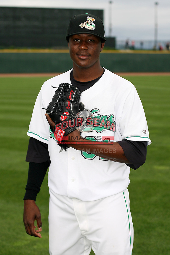 June 17th 2008:  Kennil Gomez of the Clinton Lumberkings, Class-A affiliate of the Texas Rangers, during the Midwest League All-Star Game at Dow Diamond in Midland, MI.  Photo by:  Mike Janes/Four Seam Images