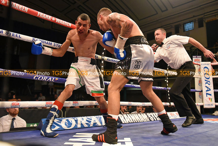 Lucien Reid (R) defeats Trayen Slavev during a Boxing Show at York Hall on 10th June 2016