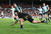 June 3rd 2017, FMG Stadium, Waikato, Hamilton, New Zealand; Super Rugby; Chiefs versus Waratahs;  Chiefs winger James Lowe scores his 3rd try during the Super Rugby rugby match