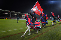 The Crusaders horsemen ride around the stadium before the 2019 Super Rugby final between the Crusaders and Jaguares at Orangetheory Stadium in Christchurch, New Zealand on Saturday, 6 July 2019. Photo: Dave Lintott / lintottphoto.co.nz