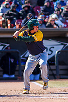 Beloit Snappers catcher Jordan Devencenzi (18) at bat during a Midwest League game against the Wisconsin Timber Rattlers on April 7, 2018 at Fox Cities Stadium in Appleton, Wisconsin. Beloit defeated Wisconsin 10-1. (Brad Krause/Four Seam Images)