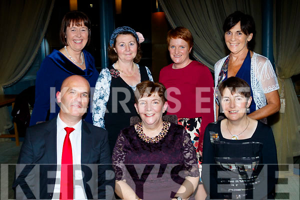 Frances Day, from Tralee, seated centre, celebrated her retirement from Tarbert Comprehensive school as Chaplain for the past 15yrs in the Ballyroe Heights hotel, Tralee last Friday, seated L-R Richard Prendirville, Principal, Frances Day and her sister Carmel, back L-R Lelia Moloney, deputy principal, Mary Carrig, Marianne Anderson and Eleanor McSweeney.