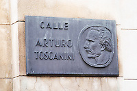 Street sign on the opera theatre building Teatro Colon saying Calle Arturo Toscanini street. Buenos Aires Argentina, South America