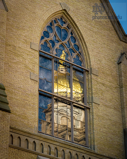 Oct. 16, 2012; Reflection of the Dome in the east window of the Basilica. (Photo by Matt Cashore/University of Notre Dame)
