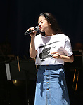 Eva Noblezada on stage at United Airlines Presents #StarsInTheAlley free outdoor concert in Shubert Alley on 6/2/2017 in New York City.