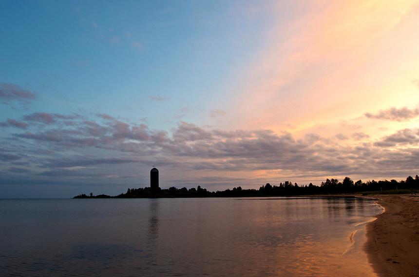 A beautiful summer sunset over Lake Michigan in the U.P. town of Nahma.