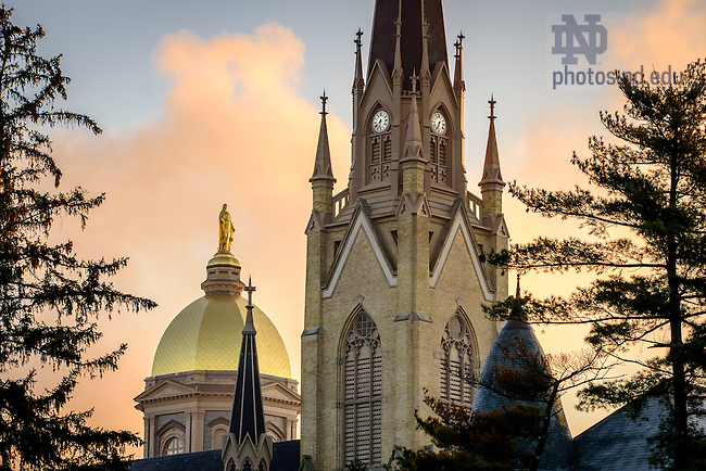 Mar. 29, 2016; Dome and Basilica on a foggy morning. (Photo by Matt Cashore/University of Notre Dame)
