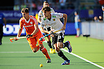 The Hague, Netherlands, June 06: Florian Fuchs #23 of Germany runs with the ball during the field hockey group match (Men - Group B) between Germany and The Netherlands on June 6, 2014 during the World Cup 2014 at Kyocera Stadium in The Hague, Netherlands. Final score 0-1 (0-1) (Photo by Dirk Markgraf / www.265-images.com) *** Local caption ***