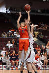 March 6, 2014; Las Vegas, NV, USA; Pepperdine Waves guard Ea Shoushtari (11) shoots against Santa Clara Broncos forward Jo Paine (32) during the second half of the WCC Basketball Championships at Orleans Arena. The Waves defeated the Broncos 80-74.