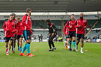 Fleetwood players warm up ahead of the Sky Bet League 1 match between Plymouth Argyle and Fleetwood Town at Home Park, Plymouth, England on 7 October 2017. Photo by Mark  Hawkins / PRiME Media Images.