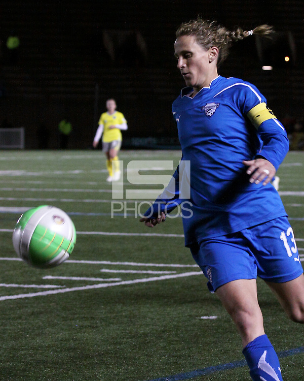 Boston Breakers midfielder Kristine Lilly (13) races to intercept the ball near the sidelines.  The Boston Breakers tied the Philadelphia Independence, 1-1, at Harvard Stadium on April 18.2010