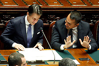 Giuseppe Conte and Luigi Di Maio<br /> Rome September 9th 2019. Lower Chamber. Programmatic speech of the new appointed Italian Premier at the Chamber of Deputies to explain the program of the yellow-red executive. After his speech the Chamber is called to the trust vote at the new Government. <br /> Foto  Samantha Zucchi Insidefoto