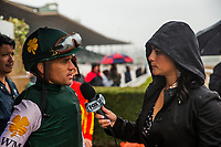 ARCADIA, CA - MARCH 10: Javier Castellano is interviewed by Michelle Yu after the San Felipe Stakes at Santa Anita Park on March 10, 2018 in Arcadia, California. (Photo by Alex Evers/Eclipse Sportswire/Getty Images)