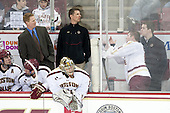 Patrick Wey (BC - 6), Michael Matheson (BC - 5), Greg Brown (BC - Associate Head Coach), Brad Barone (BC - 29), Bert Lenz (BC - Director, Sports Medicine), Pat Mullane (BC - 11), Kevin Pratt (BC - Manager) - The University of Massachusetts Lowell River Hawks defeated the Boston College Eagles 4-2 (EN) on Tuesday, February 26, 2013, at Kelley Rink in Conte Forum in Chestnut Hill, Massachusetts.
