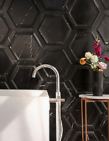 Coliseum, a stone waterjet mosaic, shown in honed Nero Marquina and Venetian honed Marquina, is part of the Altimetry&reg; Collection for New Ravenna.<br />