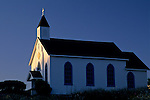 Sunset light on Church Steeple, Trinidad, Humboldt County, CALIFORNIA