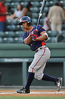 Right fielder Ray-Patrick Didder (11) of the Rome Braves bats in a game against the Greenville Drive on Wednesday, August 31, 2016, at Fluor Field at the West End in Greenville, South Carolina. Rome won, 9-1. (Tom Priddy/Four Seam Images)