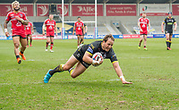 Picture by Allan McKenzie/SWpix.com - 07/04/2018 - Rugby League - Betfred Super League - Salford Red Devils v Warrington Wolves - AJ Bell Stadium, Salford, England - Warrington's Tyrone Roberts goes over for a try against Salford.